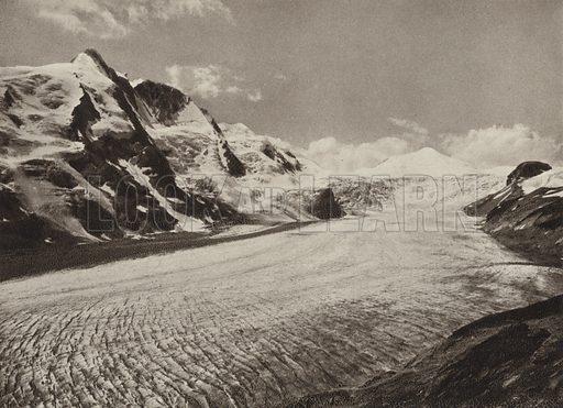 Grossglockner, Pasterze, Johannisberg. Illustration for Osterreich Landschaft und Baukunst by Kurt Hielscher (Ernst Wasmuth, 1928).  Gravure printed.