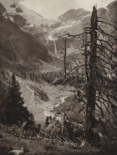 Kafertal. Illustration for Osterreich Landschaft und Baukunst by Kurt Hielscher (Ernst Wasmuth, 1928).  Gravure printed.