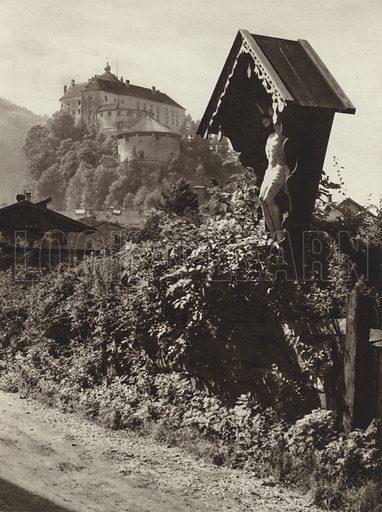 Kufstein, Festung Geroldseck. Illustration for Osterreich Landschaft und Baukunst by Kurt Hielscher (Ernst Wasmuth, 1928).  Gravure printed.