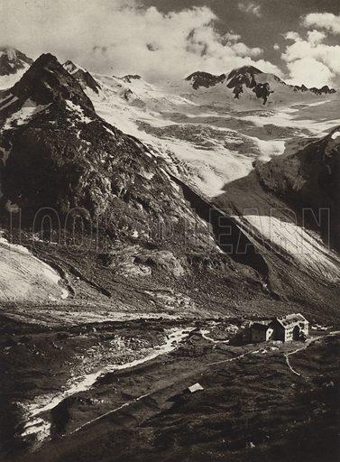 Berliner Hutte, Zillertaler Alpen. Illustration for Osterreich Landschaft und Baukunst by Kurt Hielscher (Ernst Wasmuth, 1928).  Gravure printed.