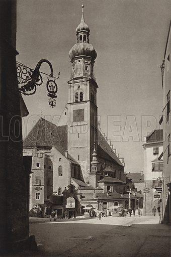 Hall, Pfarrkirche. Illustration for Osterreich Landschaft und Baukunst by Kurt Hielscher (Ernst Wasmuth, 1928).  Gravure printed.