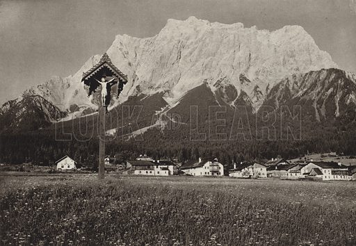 Ehrwald, Wettersteinwand, Zugspitzmassiv. Illustration for Osterreich Landschaft und Baukunst by Kurt Hielscher (Ernst Wasmuth, 1928).  Gravure printed.