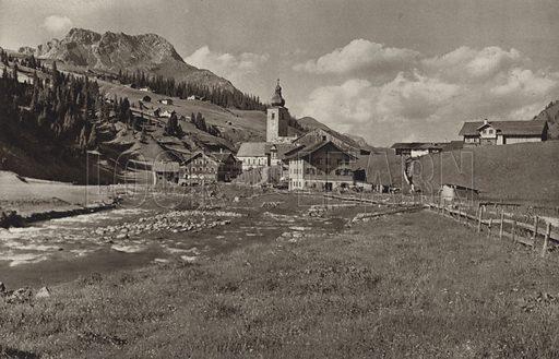 Lech. Illustration for Osterreich Landschaft und Baukunst by Kurt Hielscher (Ernst Wasmuth, 1928).  Gravure printed.