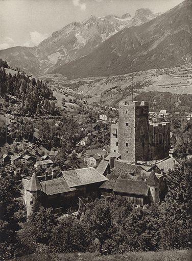 Landeck. Illustration for Osterreich Landschaft und Baukunst by Kurt Hielscher (Ernst Wasmuth, 1928).  Gravure printed.