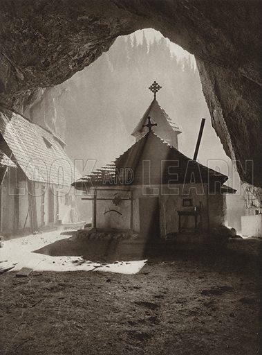 Ialomicioara Chapel. Illustration for Rumanien, Landschaft, Bauten, Volksleben, by Kurt Hielscher (F A Brockhaus, 1933).  Gravure printed.