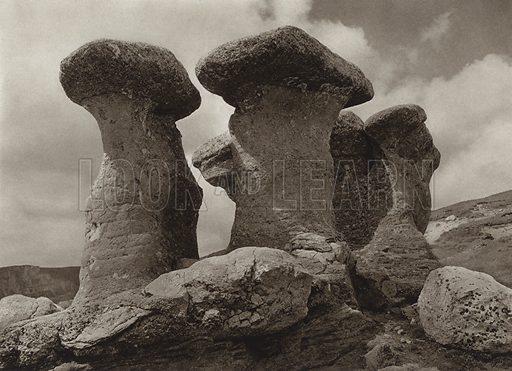 """""""Babele"""" in the Bucegi-Mountains. Illustration for Rumanien, Landschaft, Bauten, Volksleben, by Kurt Hielscher (F A Brockhaus, 1933).  Gravure printed."""