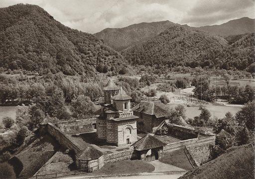 Cornetu Monastery. Illustration for Rumanien, Landschaft, Bauten, Volksleben, by Kurt Hielscher (F A Brockhaus, 1933).  Gravure printed.
