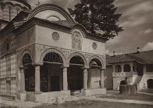 Cozia Monastery. Illustration for Rumanien, Landschaft, Bauten, Volksleben, by Kurt Hielscher (F A Brockhaus, 1933).  Gravure printed.