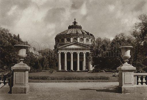 Bucharest, Athenaeum. Illustration for Rumanien, Landschaft, Bauten, Volksleben, by Kurt Hielscher (F A Brockhaus, 1933).  Gravure printed.