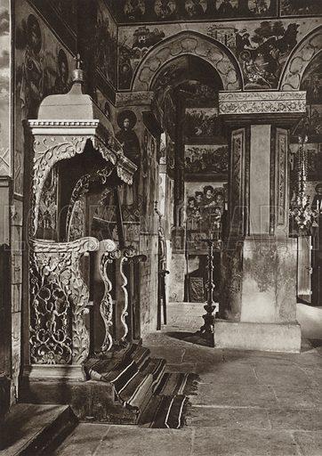 In the Cetatuia Monastery's Church. Illustration for Rumanien, Landschaft, Bauten, Volksleben, by Kurt Hielscher (F A Brockhaus, 1933).  Gravure printed.