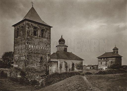 Zamka Monastery. Illustration for Rumanien, Landschaft, Bauten, Volksleben, by Kurt Hielscher (F A Brockhaus, 1933).  Gravure printed.