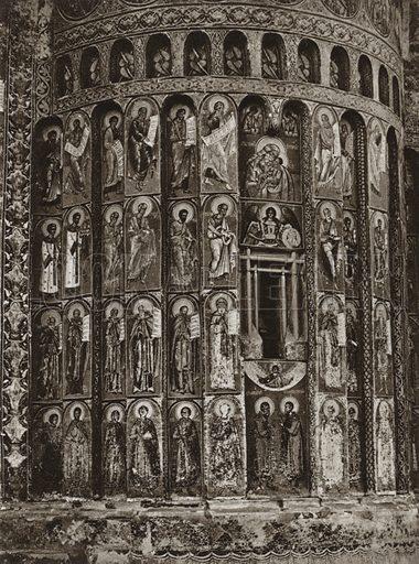 Exterior frescoes of the Varonet Monastery. Illustration for Rumanien, Landschaft, Bauten, Volksleben, by Kurt Hielscher (F A Brockhaus, 1933).  Gravure printed.