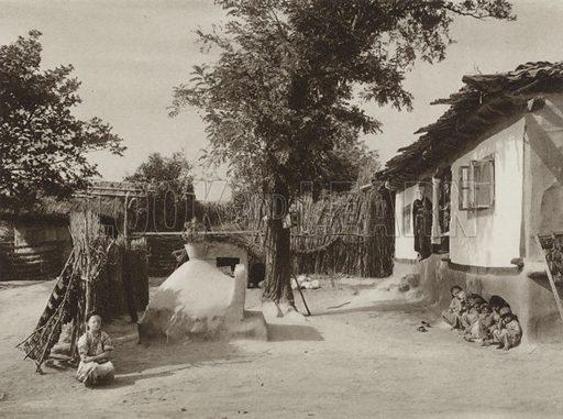 Cara Orman, Turkish Homestead. Illustration for Rumanien, Landschaft, Bauten, Volksleben, by Kurt Hielscher (F A Brockhaus, 1933).  Gravure printed.