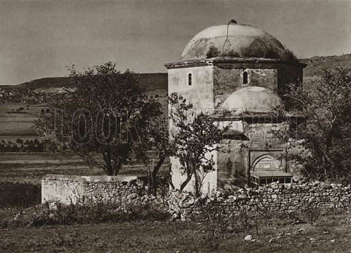 Teke, Turkish mausoleum. Illustration for Rumanien, Landschaft, Bauten, Volksleben, by Kurt Hielscher (F A Brockhaus, 1933).  Gravure printed.