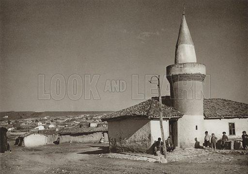 Bazargic, Mosque. Illustration for Rumanien, Landschaft, Bauten, Volksleben, by Kurt Hielscher (F A Brockhaus, 1933).  Gravure printed.