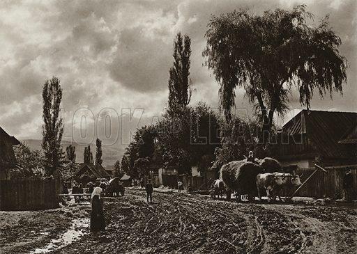 Joseni, Village street. Illustration for Rumanien, Landschaft, Bauten, Volksleben, by Kurt Hielscher (F A Brockhaus, 1933).  Gravure printed.