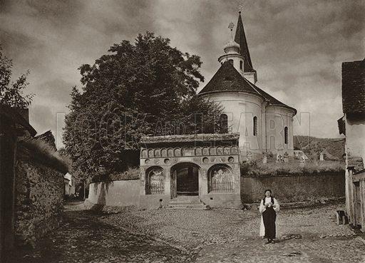 Boita, Village Church. Illustration for Rumanien, Landschaft, Bauten, Volksleben, by Kurt Hielscher (F A Brockhaus, 1933).  Gravure printed.