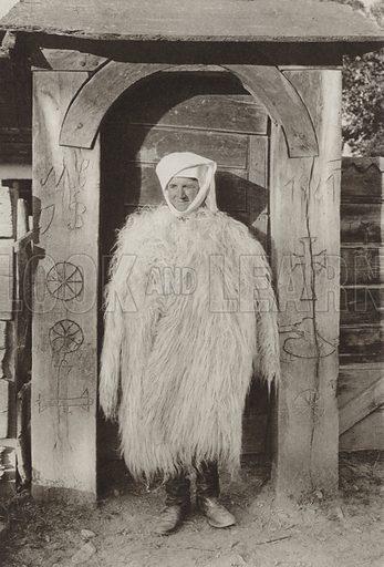 Dragus, Winter costume. Illustration for Rumanien, Landschaft, Bauten, Volksleben, by Kurt Hielscher (F A Brockhaus, 1933).  Gravure printed.