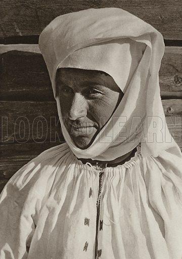Dragus, Peasant woman. Illustration for Rumanien, Landschaft, Bauten, Volksleben, by Kurt Hielscher (F A Brockhaus, 1933).  Gravure printed.