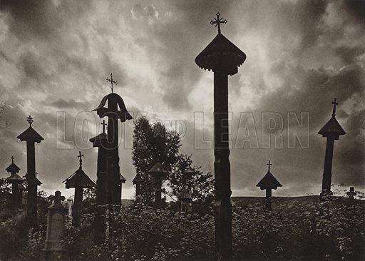 Casin, Cemetery. Illustration for Rumanien, Landschaft, Bauten, Volksleben, by Kurt Hielscher (F A Brockhaus, 1933).  Gravure printed.