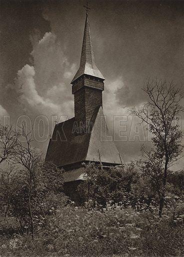 Rozavlea, Wooden Church. Illustration for Rumanien, Landschaft, Bauten, Volksleben, by Kurt Hielscher (F A Brockhaus, 1933).  Gravure printed.