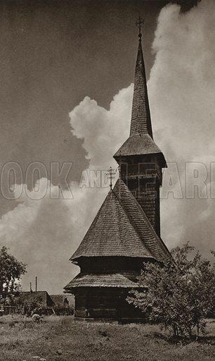 Cuhea, Wooden Church. Illustration for Rumanien, Landschaft, Bauten, Volksleben, by Kurt Hielscher (F A Brockhaus, 1933).  Gravure printed.