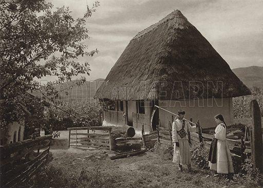 Boinesti, Peasant house. Illustration for Rumanien, Landschaft, Bauten, Volksleben, by Kurt Hielscher (F A Brockhaus, 1933).  Gravure printed.