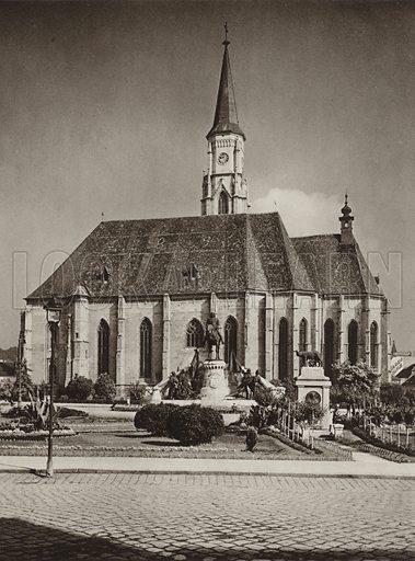 Cluj, Mateias Church. Illustration for Rumanien, Landschaft, Bauten, Volksleben, by Kurt Hielscher (F A Brockhaus, 1933).  Gravure printed.