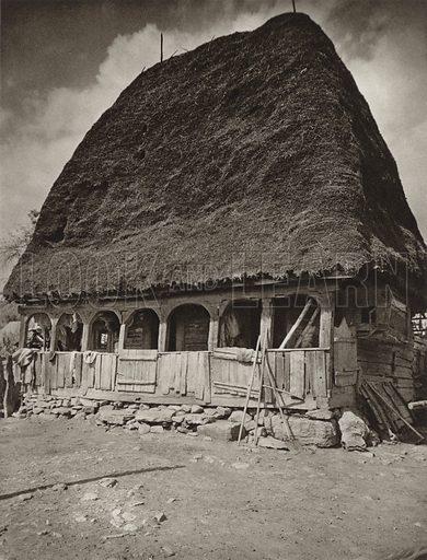 Salciua de Jos, Peasant house. Illustration for Rumanien, Landschaft, Bauten, Volksleben, by Kurt Hielscher (F A Brockhaus, 1933).  Gravure printed.