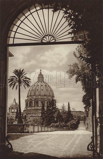 Giardino Vaticano colla Chiesa di S Pietro. Illustration for Die Ewige Stadt Erinnerungen An Rom by Kurt Hielscher (Ernst Wasmuth, 1925).  Gravure printed.