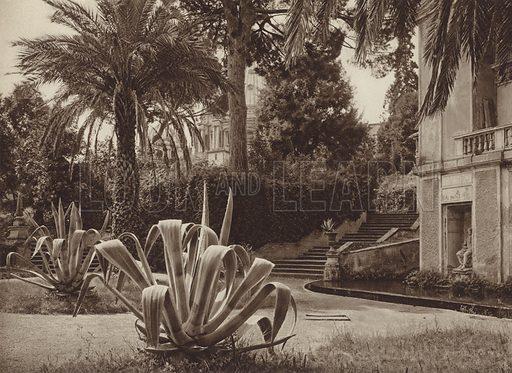 Nel Giardino Vaticano. Illustration for Die Ewige Stadt Erinnerungen An Rom by Kurt Hielscher (Ernst Wasmuth, 1925).  Gravure printed.