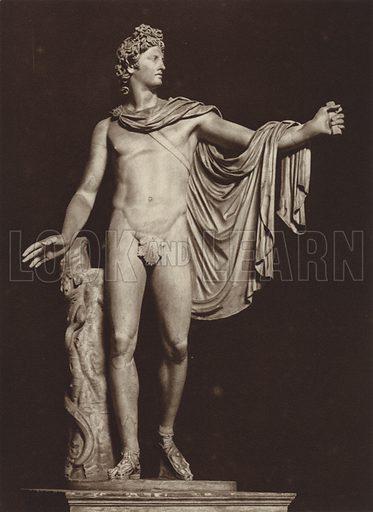 Apollo nel Belvedere, Vaticano. Illustration for Die Ewige Stadt Erinnerungen An Rom by Kurt Hielscher (Ernst Wasmuth, 1925).  Gravure printed.