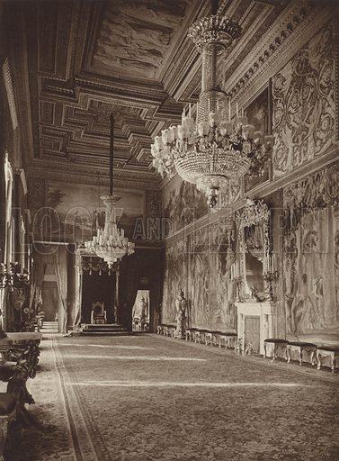 Palazzo del Quirinale, Sala del Trono. Illustration for Die Ewige Stadt Erinnerungen An Rom by Kurt Hielscher (Ernst Wasmuth, 1925).  Gravure printed.