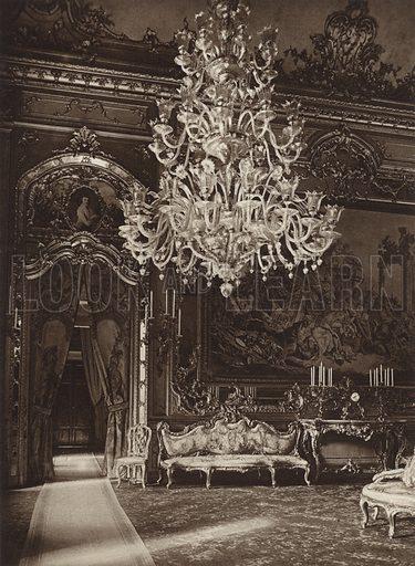 Palazzo del Quirinale, Sala del Gobelin. Illustration for Die Ewige Stadt Erinnerungen An Rom by Kurt Hielscher (Ernst Wasmuth, 1925).  Gravure printed.