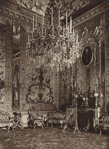 Palazzo del Quirinale, Sala Peri. Illustration for Die Ewige Stadt Erinnerungen An Rom by Kurt Hielscher (Ernst Wasmuth, 1925).  Gravure printed.