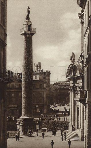 La colonna di Trajano. Illustration for Die Ewige Stadt Erinnerungen An Rom by Kurt Hielscher (Ernst Wasmuth, 1925).  Gravure printed.