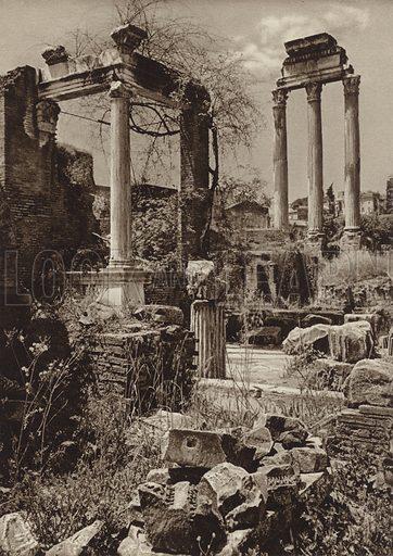Foro Romano, Presso il Tempio di Vesta e di Castore. Illustration for Die Ewige Stadt Erinnerungen An Rom by Kurt Hielscher (Ernst Wasmuth, 1925).  Gravure printed.