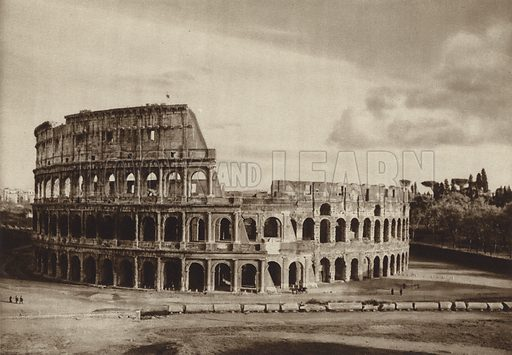 Il Colosseo. Illustration for Die Ewige Stadt Erinnerungen An Rom by Kurt Hielscher (Ernst Wasmuth, 1925).  Gravure printed.