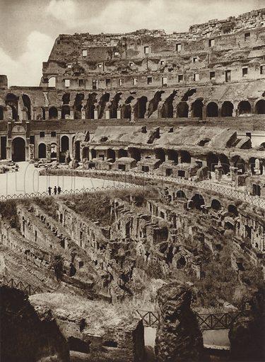 Colosseo, Interno. Illustration for Die Ewige Stadt Erinnerungen An Rom by Kurt Hielscher (Ernst Wasmuth, 1925).  Gravure printed.