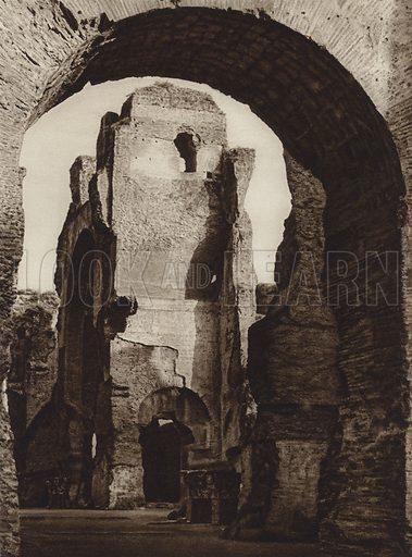Nelle Terme di Caracalla. Illustration for Die Ewige Stadt Erinnerungen An Rom by Kurt Hielscher (Ernst Wasmuth, 1925).  Gravure printed.