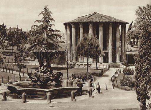 Il tempio di Vesta. Illustration for Die Ewige Stadt Erinnerungen An Rom by Kurt Hielscher (Ernst Wasmuth, 1925).  Gravure printed.