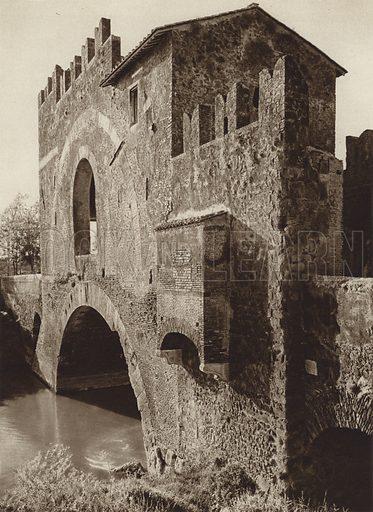 Ponte Nomentano. Illustration for Die Ewige Stadt Erinnerungen An Rom by Kurt Hielscher (Ernst Wasmuth, 1925).  Gravure printed.
