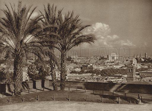 Veduta di S Pietro in Montorio. Illustration for Die Ewige Stadt Erinnerungen An Rom by Kurt Hielscher (Ernst Wasmuth, 1925).  Gravure printed.