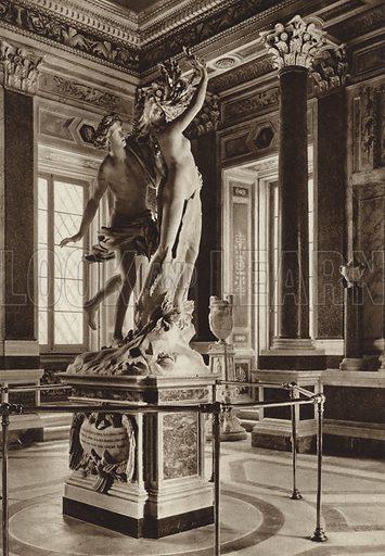 Davanti al Museo Borghese, Apollo e Dafne, del Bernini. Illustration for Die Ewige Stadt Erinnerungen An Rom by Kurt Hielscher (Ernst Wasmuth, 1925).  Gravure printed.