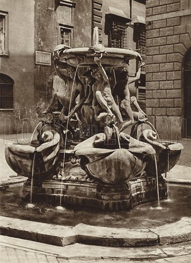 Fontana delle Tartarughe. Illustration for Die Ewige Stadt Erinnerungen An Rom by Kurt Hielscher (Ernst Wasmuth, 1925).  Gravure printed.