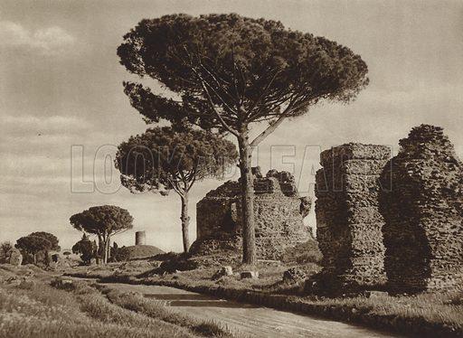 Via Appia. Illustration for Die Ewige Stadt Erinnerungen An Rom by Kurt Hielscher (Ernst Wasmuth, 1925).  Gravure printed.