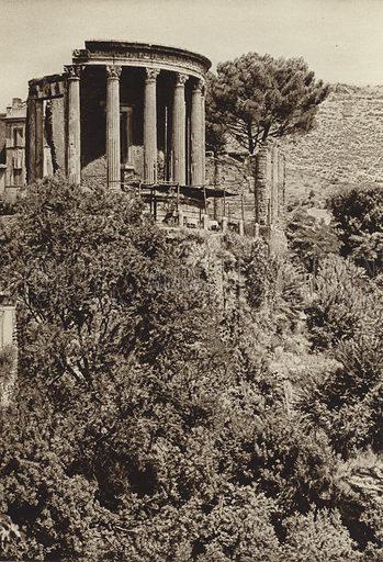 Tivoli, Tempio della Sibilla. Illustration for Die Ewige Stadt Erinnerungen An Rom by Kurt Hielscher (Ernst Wasmuth, 1925).  Gravure printed.