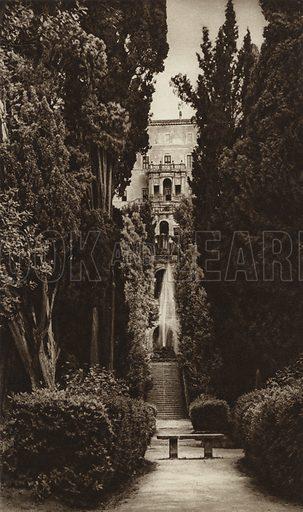 Tivoli, Villa d'Este. Illustration for Die Ewige Stadt Erinnerungen An Rom by Kurt Hielscher (Ernst Wasmuth, 1925).  Gravure printed.