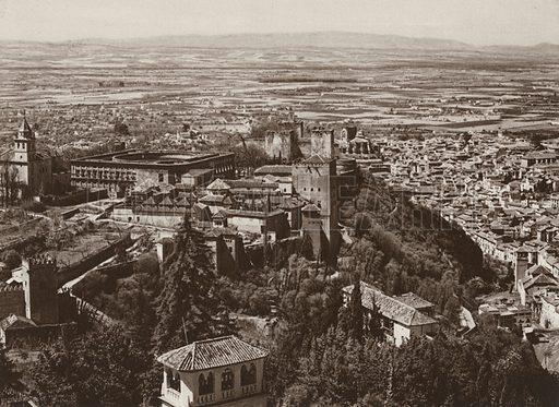 Granada, Alhambra and the Vega. Illustration for Das Unbekannte Spanien, Baukunst, Landschaft, Volksleben, by Kurt Hielscher (Ernst Wasmuth, 1925).  Gravure printed.