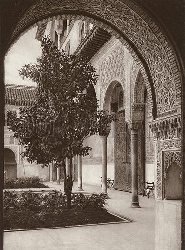 Granada, Alhambra, The Myrtle Court. Illustration for Das Unbekannte Spanien, Baukunst, Landschaft, Volksleben, by Kurt Hielscher (Ernst Wasmuth, 1925).  Gravure printed.